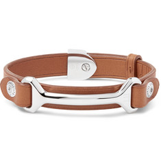 Dunhill Leather Silver-Tone Bracelet