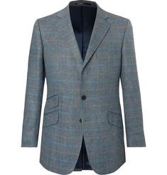 Cordings Eccles Checked Herringbone Silk and Wool-Blend Blazer