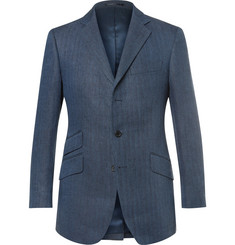 Cordings Blue Kerry Slim-Fit Herringbone Linen Blazer
