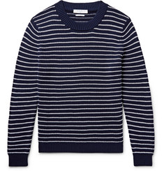Sandro - Striped Textured-Cotton Sweater