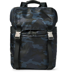 Sandro Leather-Trimmed Camouflage-Print Shell Backpack