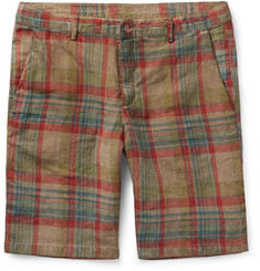 Massimo Alba - Vela Watercoloured-Dyed Checked Linen Shorts