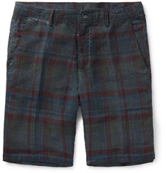 Massimo Alba - Vela Slim-Fit Watercolour-Dyed Checked Linen Shorts