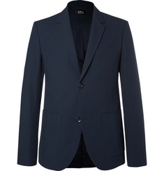 A.P.C. Blue Jerome Slim-Fit Stretch-Cotton Seersucker Blazer