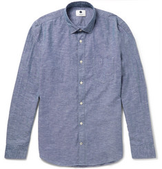 NN07 Frede Grandad-Collar Cotton and Linen-Blend Shirt