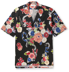 Saint Laurent Camp-Collar Floral-Print Voile Shirt