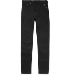 Saint Laurent Skinny-Fit 17cm Hem Embroidered Stretch-Denim Jeans