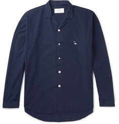 Second/Layer Camp-Collar Embroidered Cotton-Poplin Shirt
