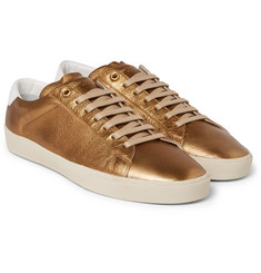 Saint Laurent - SL/06 Court Classic Metallic Textured-Leather Sneakers