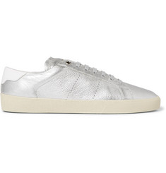 Saint Laurent SL/06 Court Classic Metallic Textured-Leather Sneakers