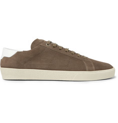 Saint Laurent SL/06 Court Classic Leather-Trimmed Suede Sneakers