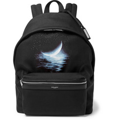 Saint Laurent City Leather-Trimmed Printed Canvas Backpack