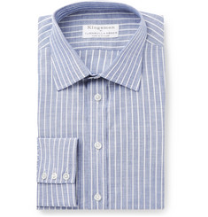 Kingsman - + Turnbull & Asser Blue Slim-Fit Striped Cotton-Poplin Shirt