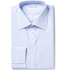 Kingsman - + Turnbull & Asser Blue Slim-Fit Striped Cotton Shirt