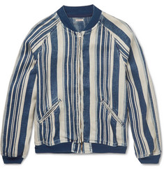 KAPITAL - Striped Linen Bomber Jacket