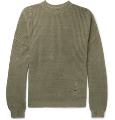 KAPITAL Oversized Distressed Ribbed Cotton and Linen-Blend Sweater