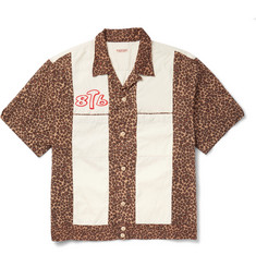 KAPITAL Camp-Collar Embroidered Leopard-Print Cotton Shirt