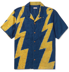 KAPITAL - Camp-Collar Thunder-Print Cotton and Linen-Blend Shirt