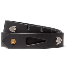 KAPITAL - 3cm Black Arrowhead Embellished Leather Belt