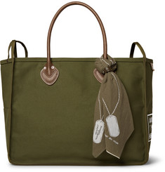 KAPITAL Leather-Trimmed Cotton-Canvas Holdall