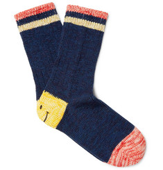 KAPITAL Smiley-Face Striped Cotton and Hemp-Blend Socks