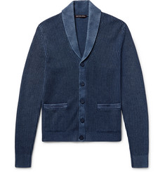 Michael Kors - Shawl-Collar Ribbed Linen and Cotton-Blend Cardigan
