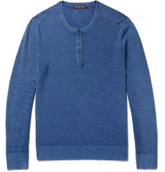 Michael Kors - Mélange Linen and Cotton-Blend Piqué Henley T-Shirt