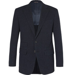 Thom Sweeney Blue Slim-FIt Slub Cotton, Wool and Silk-Blend Suit Jacket