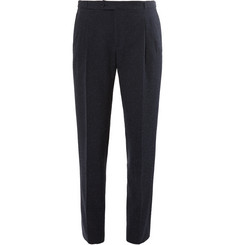 Thom Sweeney Blue Slim-Fit Slub Cotton, Wool and Silk-Blend Suit Trousers