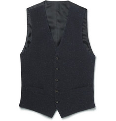 Thom Sweeney Blue Slim-Fit Slub Cotton, Wool and Silk-Blend Waistcoat