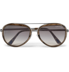 TOM FORD Aviator-Style Gunmetal-Tone and Acetate Sunglasses
