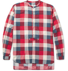 nonnative Master Slim-Fit Grandad-Collar Checked Brushed-Cotton Shirt