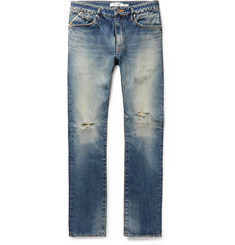 - Dweller Slim-Fit Distressed Selvedge Denim Jeans