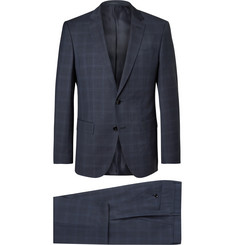 Hugo Boss Blue Checked Super 120s Virgin Wool Suit