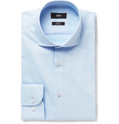 Hugo Boss - Blue Jerrin Slim-Fit Cutaway-Collar Cotton Shirt