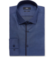 Hugo Boss Blue Jeldrik Slim-Fit Cotton-Jacquard Shirt
