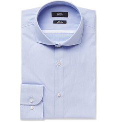 Hugo Boss - Blue Jerrin Slim-Fit Cutaway-Collar Striped Cotton Shirt