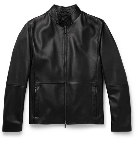 Slim-fit Leather Jacket - Black