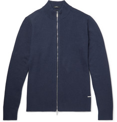 Hugo Boss Montez Ribbed Cotton-Blend Zip-Up Cardigan