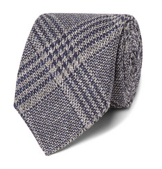 Kingsman - + Drake's 8cm Checked Wool, Silk and Linen-Blend Tie