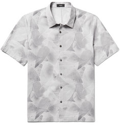 Theory Printed Cotton and Linen-Blend Shirt