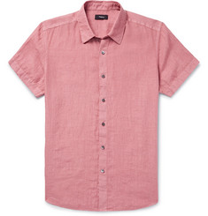 Theory Clark Slim-Fit Garment-Dyed Linen Shirt