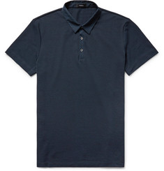 Theory Slim-Fit Poplin-Trimmed Pima Cotton-Piqué Polo Shirt