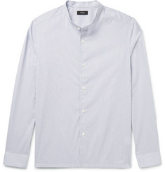 Theory Grandad-Collar Striped Cotton-Blend Dobby Shirt
