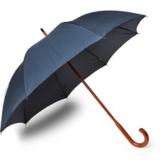 London Undercover Maple Wood-Handle Printed Twill Umbrella