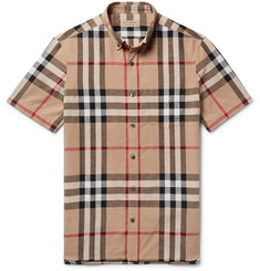 Burberry Button-Down Collar Checked Linen and Cotton-Blend Shirt