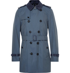 Burberry - Kensington Mid-Length Suede-Trimmed Cotton-Gabardine Trench Coat
