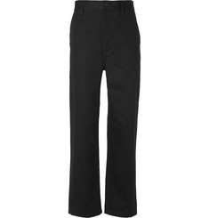 Burberry Runway Cropped Wide-Leg Cotton-Twill Trousers