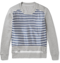 Burberry Runway Cotton-Blend Jersey and Striped Silk-Blend Sweatshirt