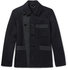 Burberry Runway Gabardine-Trimmed Double-Faced Cashmere Jacket